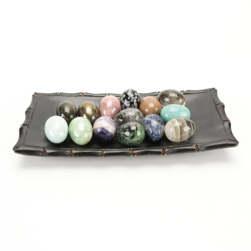 Polished Labradorite, Amethyst, Pyrite and Other Decorative Stone Eggs and Tray