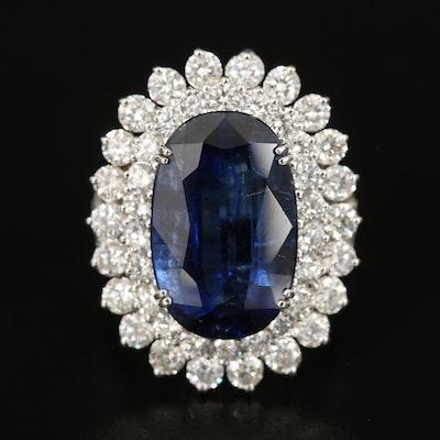 18K 8.88 CT Kyanite and 2.76 CTW Diamond Ring