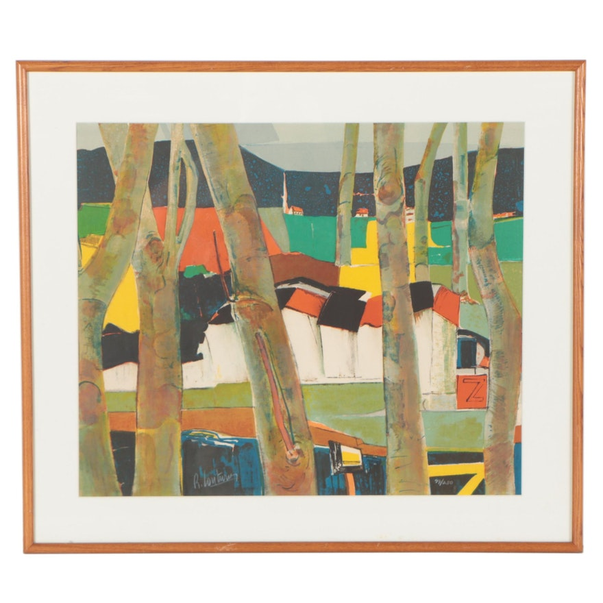 Rene Couturier Abstract Landscape Lithograph