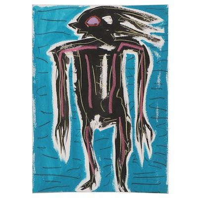 Merle Rosen Abstract Mixed Media Painting, 1992