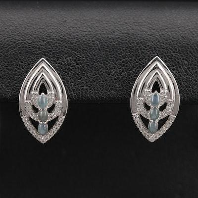 Sterling Cat's Eye Alexandrite and Spinel Navette Earrings