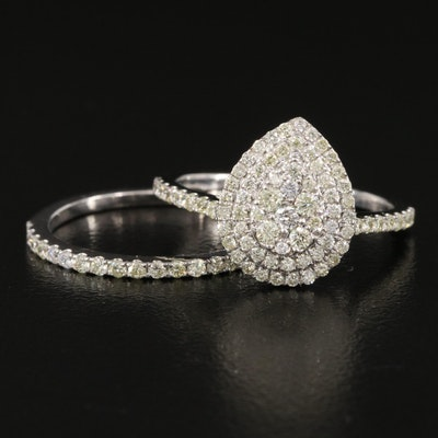 10K 0.71 CTW Diamond Cluster Teardrop Ring and Band Set