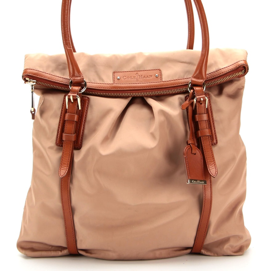 Cole Haan Foldover Shoulder Bag in Nylon and Leather