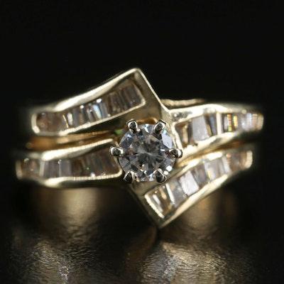 14K 0.72 CTW Diamond Channel Bypass Ring Set