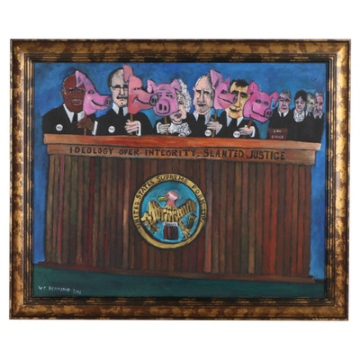 """William C. Hemming Outsider Art Acrylic Painting """"Contempt of Court,"""" 2001"""