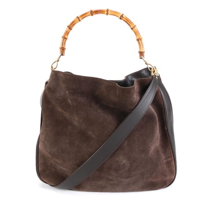 Gucci Bamboo Brown Suede and Leather Two-Way Bag