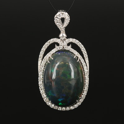 18K Opal and 1.15 CTW Diamond Pendant with GIA Report