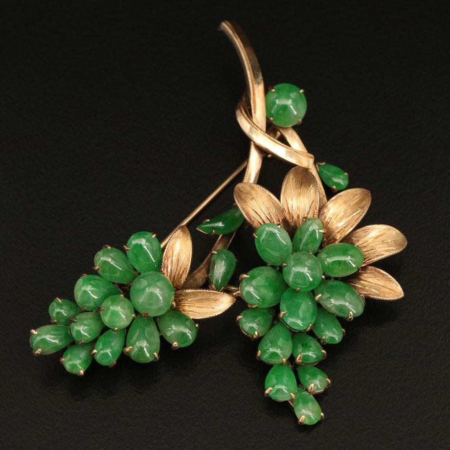 Vintage 14K Jadeite Grape Cluster Brooch with Milgrain Detail