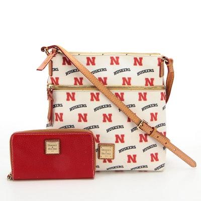 Dooney & Bourke Nebraska Huskers Crossbody Bag and Zip-Around Wallet in Leather
