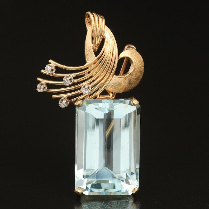 18K 26.12 CT Aquamarine and Diamond Converter Brooch
