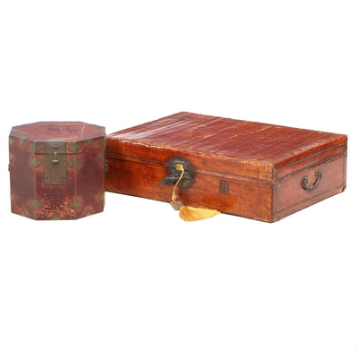 Chinese Leather Suitcase and Octagonal Wooden Box with Brass Mounts