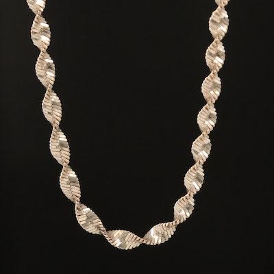 Italian Sterling Twisted Herringbone Chain Necklace