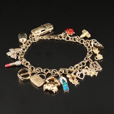 14K Charm Bracelet Including Citrine and Diamond