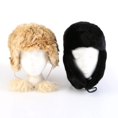 Canadian Mink Fur Ushanka with Sheepskin Earflap Hat