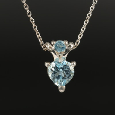 Sterling Sky Blue Topaz Heart Pendant Necklace