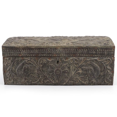 Embossed Copper Over Wood Armorial Lock Box, 18th or 19th Century