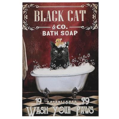 Black Cat in Bathtub Giclée Poster, Circa 2020