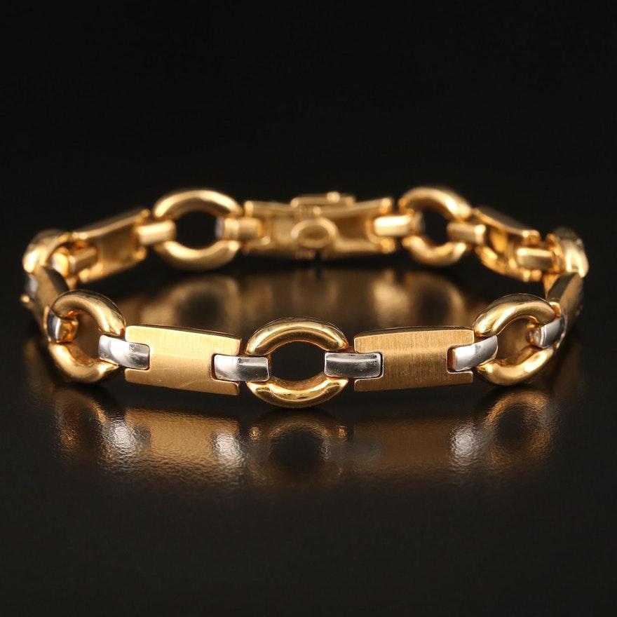 18K Fancy Link Bracelet with Brushed Finish Details