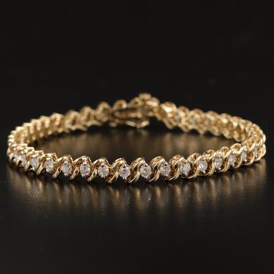14K 2.54 CTW Diamond S Link Line Bracelet