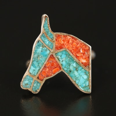 Southwestern Sterling Horse Inlay Ring