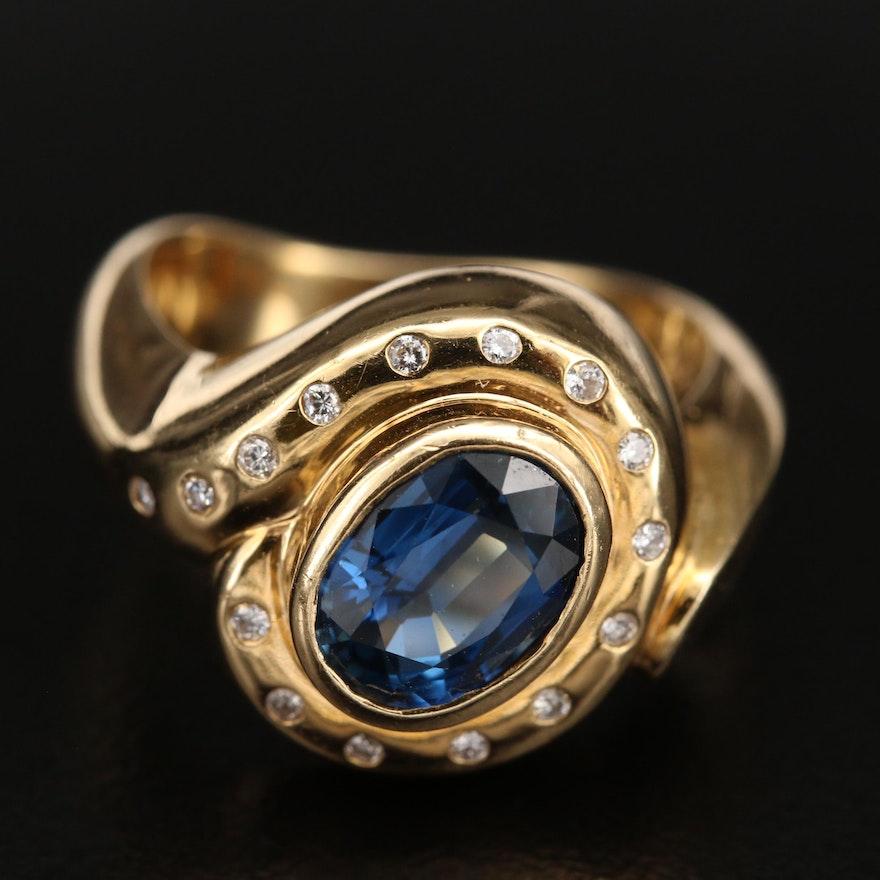 18K 2.24 CT Sapphire and Diamond Ring
