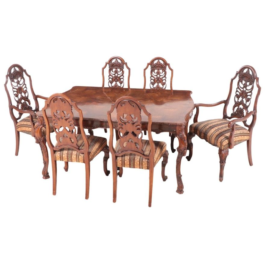 Batesville Cabinet Romweber Rococo Style Mahogany Dining Set, Mid-20th Century
