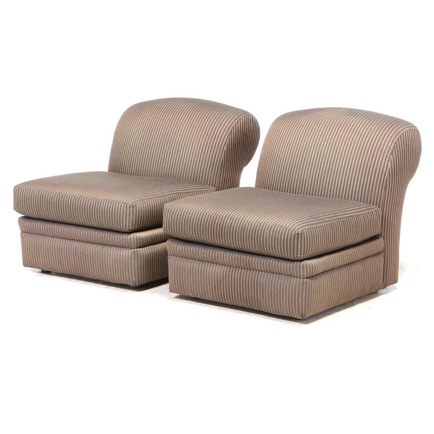 Pair of American of Martinsville Modernist Custom-Upholstered Slipper Chairs