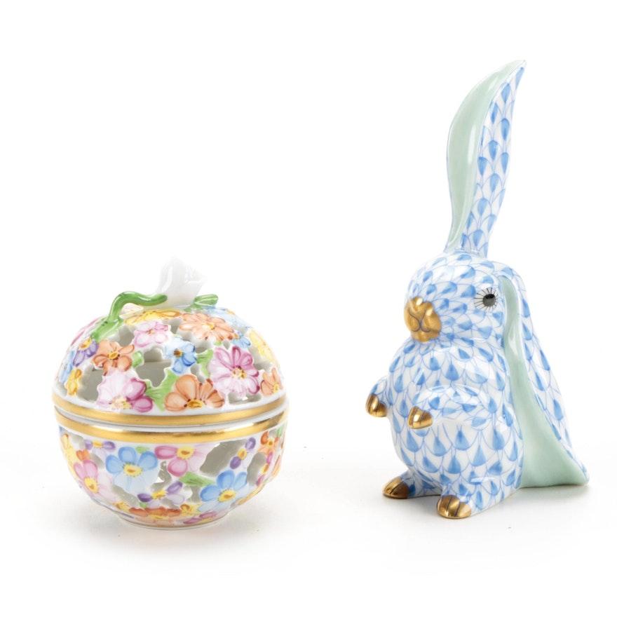 Herend Blue Fishnet Rabbit Figurine with Pierced Floral Motif Box