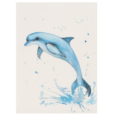 """Anne """"Angor"""" Gorywine Watercolor Painting of a Dolphin, 21st Century"""