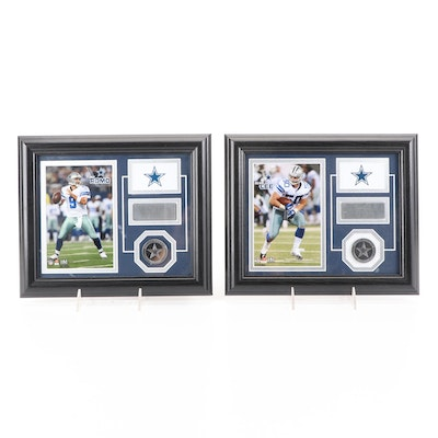 Framed Tony Romo, Sean Lee Minted Medallions with Facsimile Signed Photo Prints