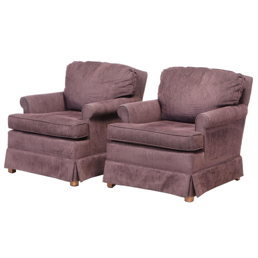 Pair of Pembrook Chair Corp. Custom-Upholstered Easy Armchairs