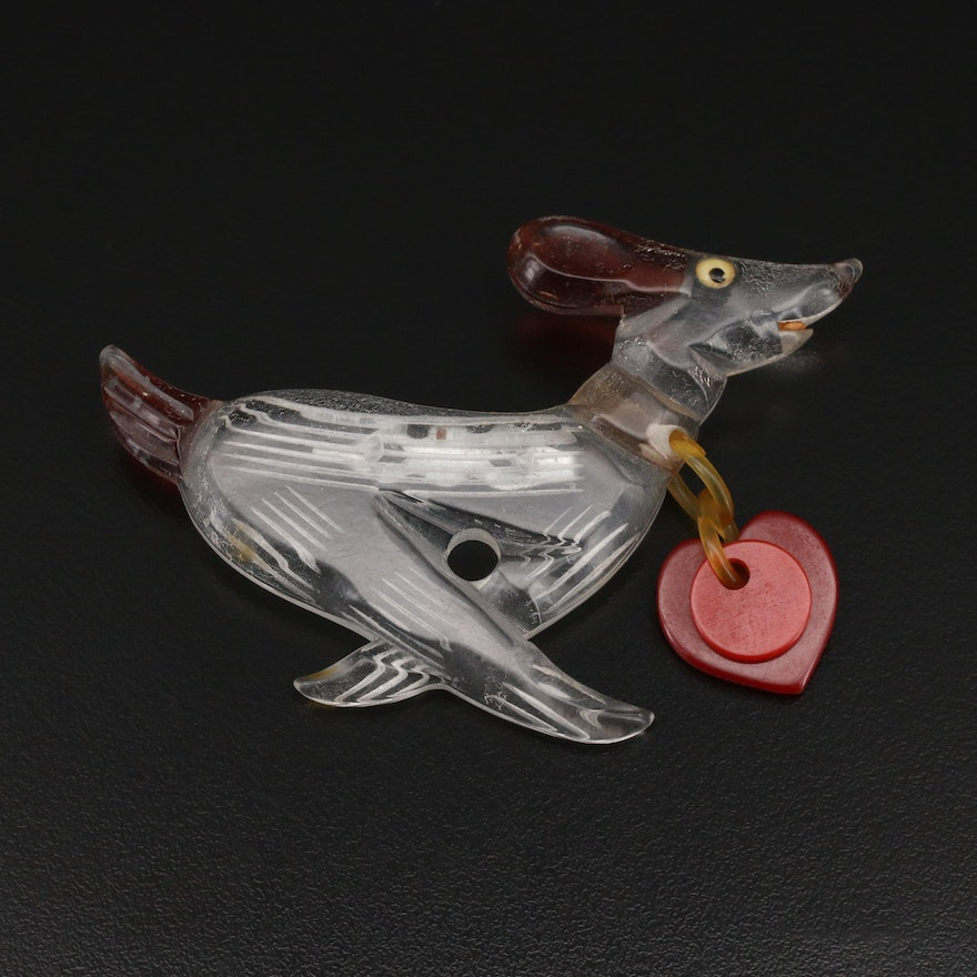 Vintage Resin Dog with Heart Tag Brooch