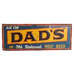 Dad's Old Fashioned Root Beer Enameled Metal Sign, circa 1940s