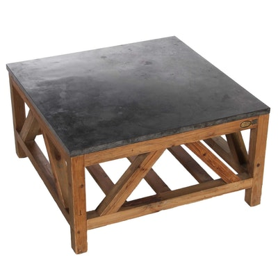 Arhaus Furniture Recycled Pine and Polished Stone Coffee Table