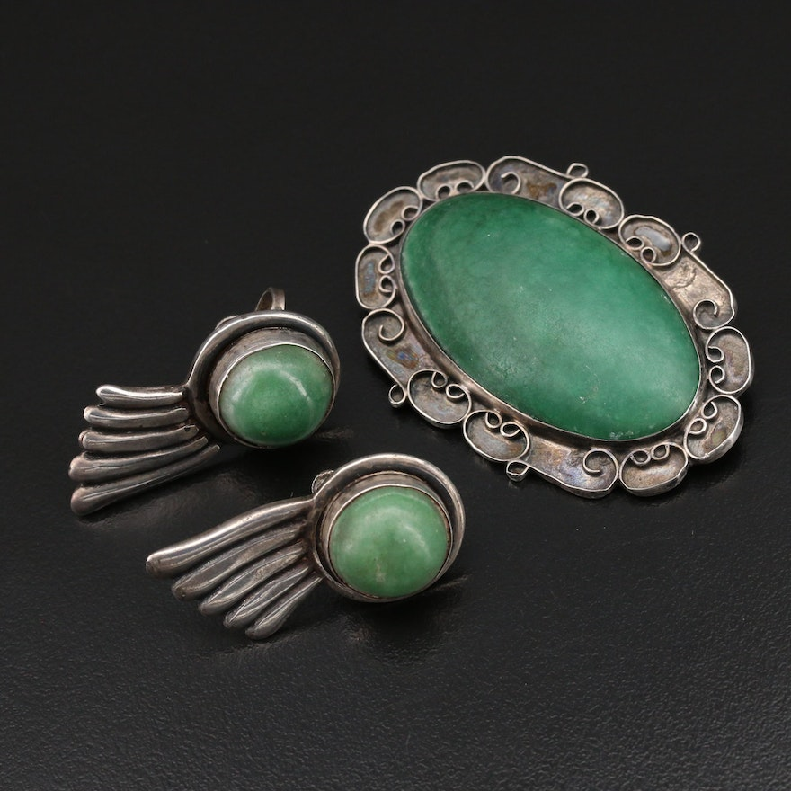 Vintage Barrera Sterling Brooch with Calcite Earrings
