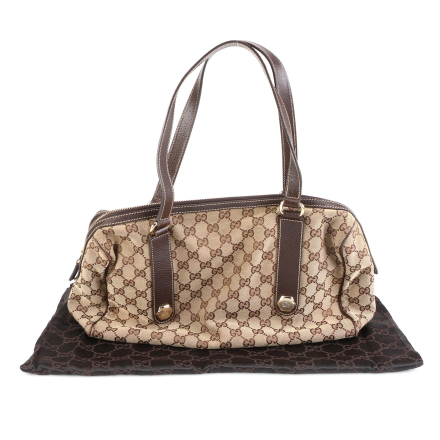 Gucci GG Canvas and Contrast-Stitched Leather Bag