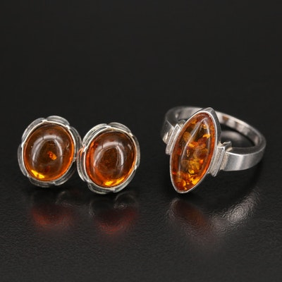 Sterling Amber Marquise Ring and Stud Earrings