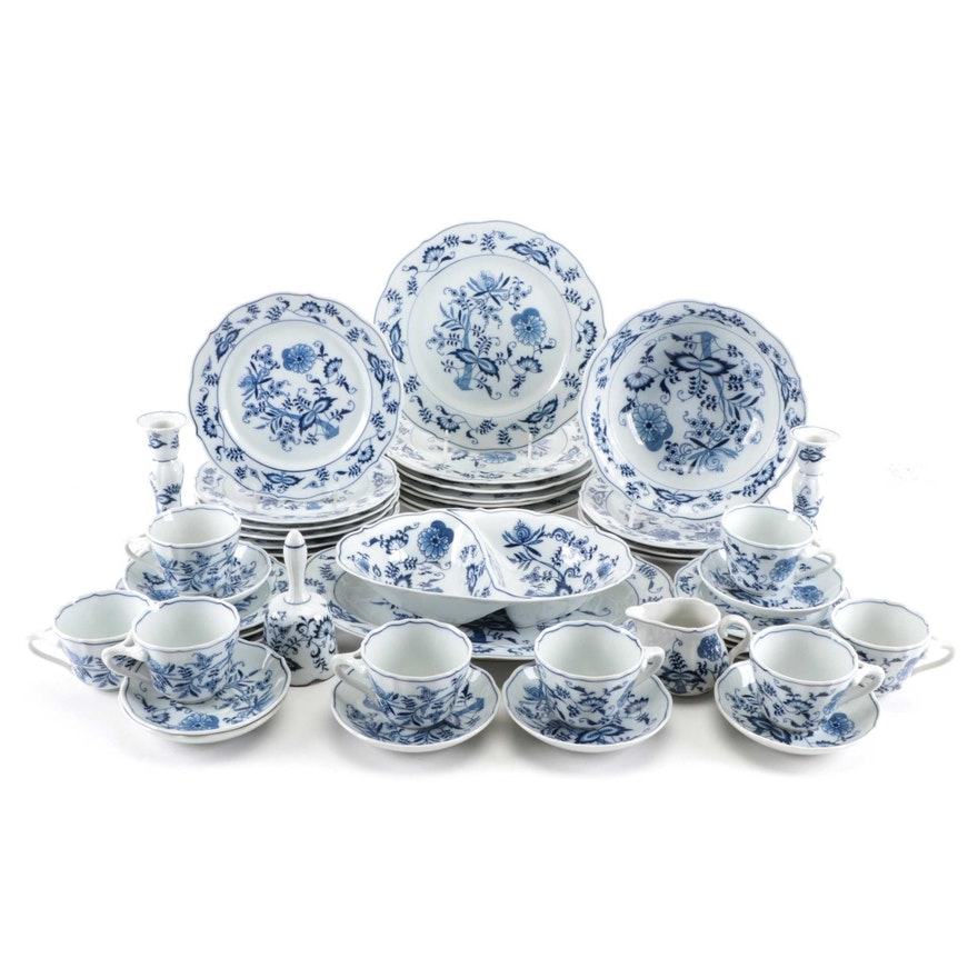 Blue Danube Porcelain Dinner and Serveware, Mid to Late 20th Century