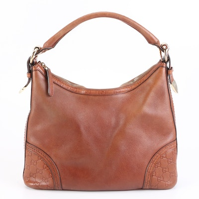 Gucci Signoria GG Accented Brown Leather Shoulder Bag