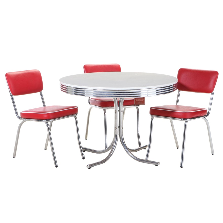 Four-Piece Coaster Fine Furniture Modernist Style Tubular Chrome Dining Set
