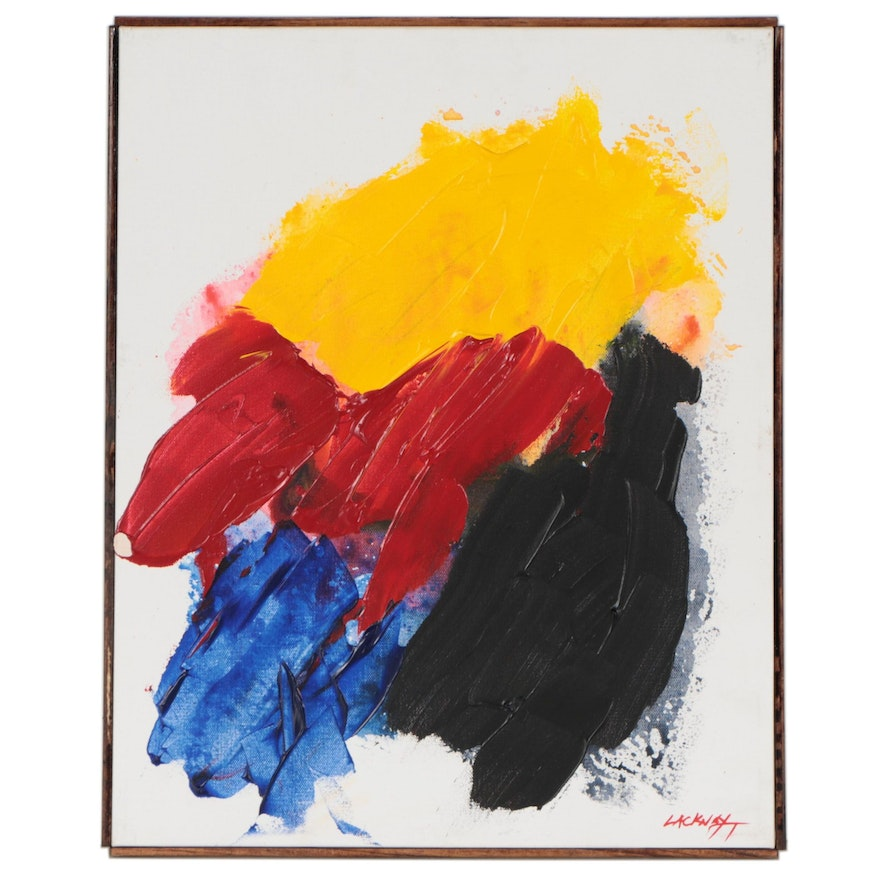 """Robert Lackney Abstract Acrylic Painting """"Paintis Painting"""""""