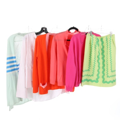 J. Crew and Talbots Blouse and Sweaters with J. McLaughlin Ric-Rac Skirt
