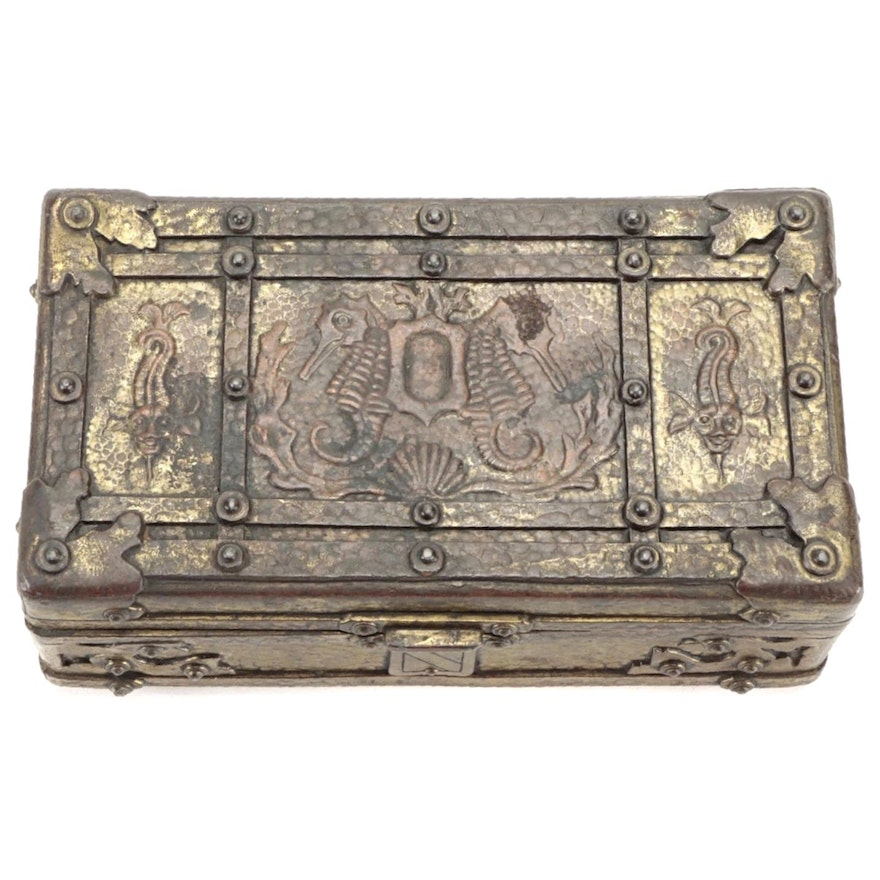 Tudor Style Planchetted Brass Casket, Mid-20th Century