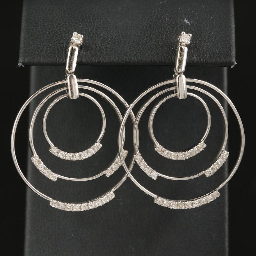 14K Diamond Concentric Earrings