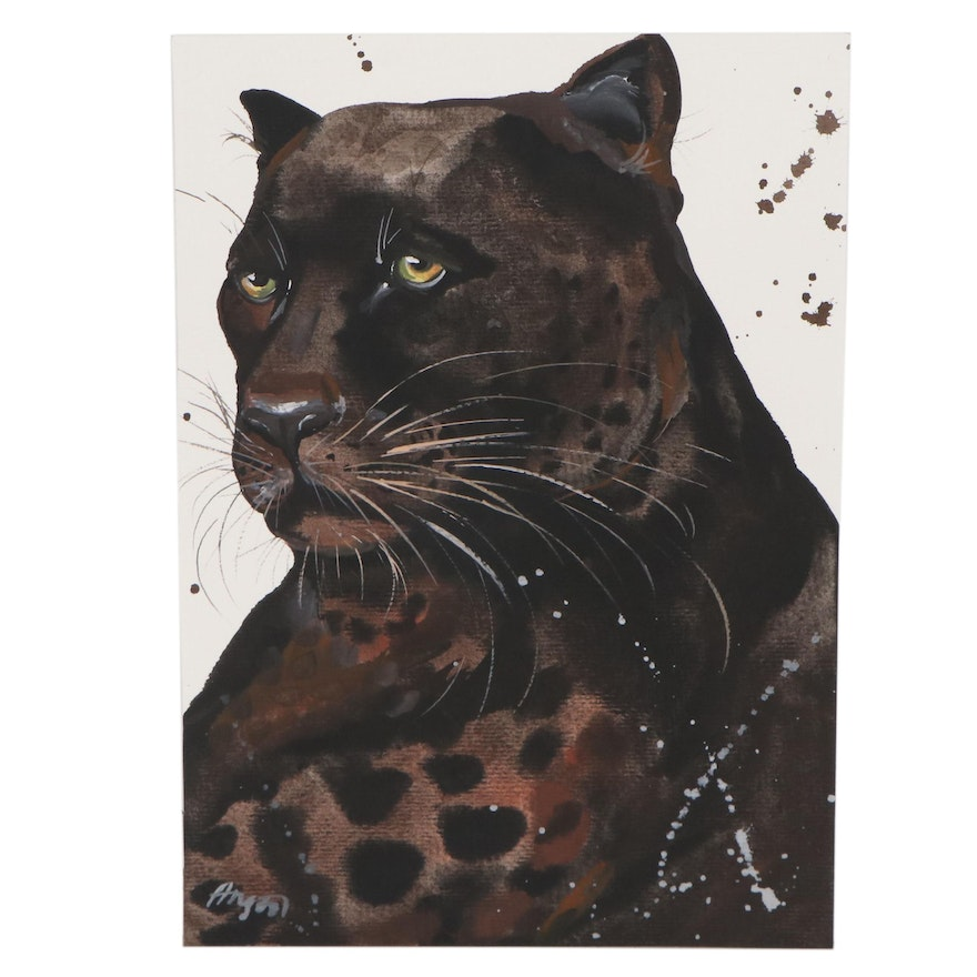 """Anne """"Angor"""" Gorywine Watercolor Painting of a Jaguar, 21st Century"""