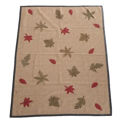 Woolrich Polyester Blend Blanket with Appliquéd Leaf Design