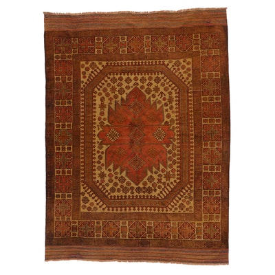 6'7 x 8'11 Handwoven Afghan Turkmen Mixed Technique Area Rug