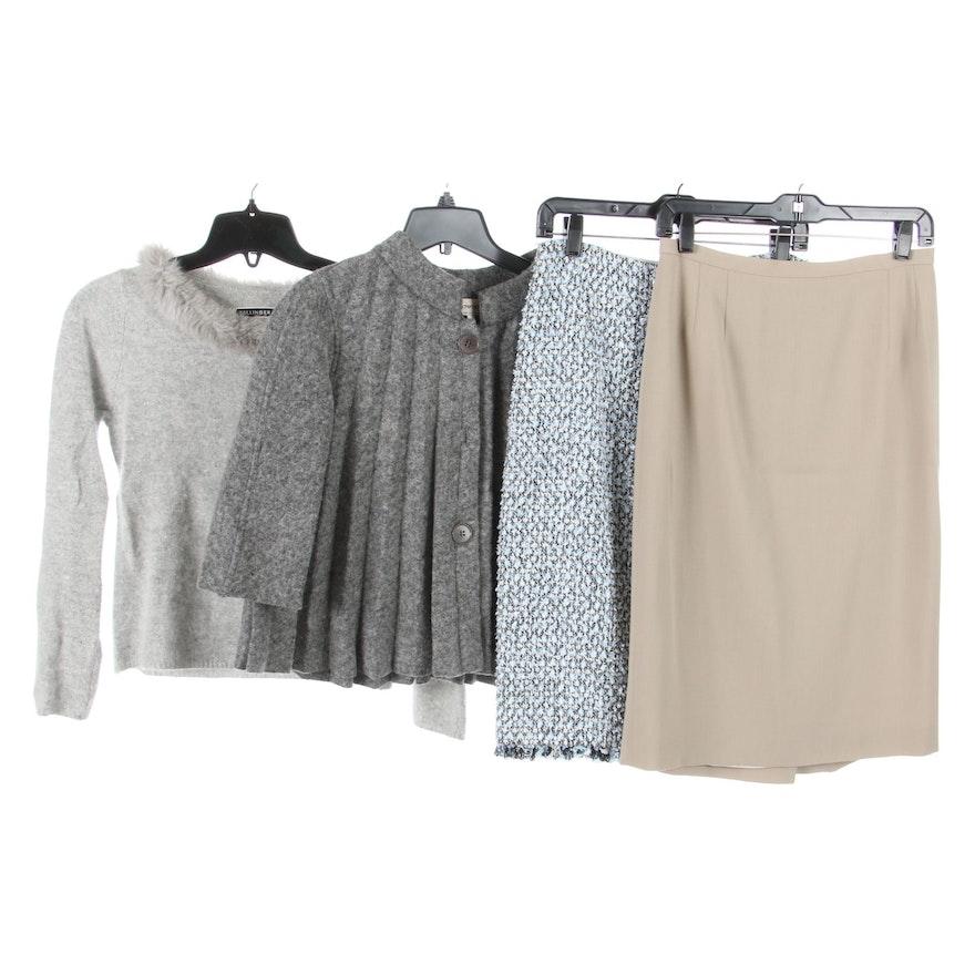 Giorgio Armani and Escada Skirts, Ballinger-Gold Sweater and Armani Swing Jacket