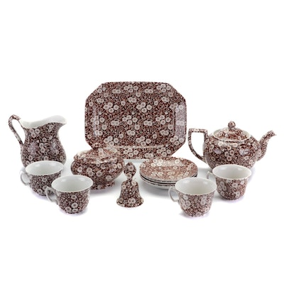 """Royal Crownford """"Calico"""" Brown and White Transferware Tableware"""