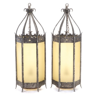 """Pair of Large 53"""" Gothic Style Wrought Iron Pendant Lights, Early 20th C."""
